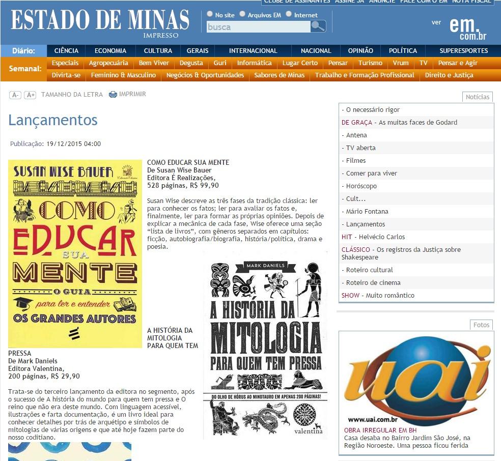A História da Mitologia - O Estado de Minas - 20151220